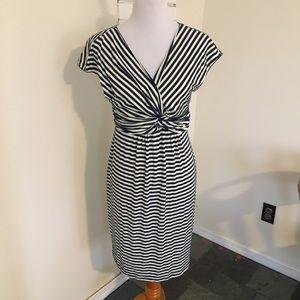 Max Studio Navy Striped Twist Knot Dress V-Neck M